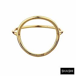 SHASHI 紐約品牌 Natalie 優雅圓滿圈圈戒指 925純銀鑲18K金