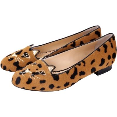 Charlotte Olympia Kitty 鬣狗印花毛質貓咪平底鞋