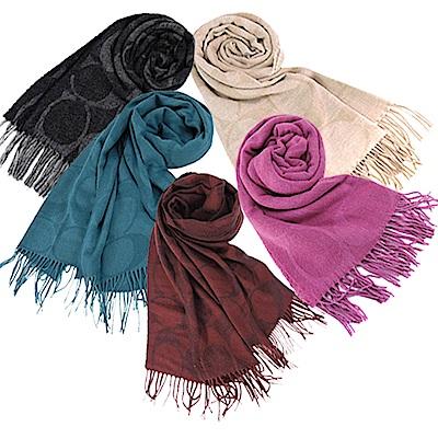 COACH 大LOGO大尺寸流蘇披肩/圍巾(5色)