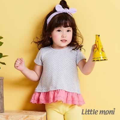 Little moni 俏皮女孩蕾絲拼接上衣 麻花灰