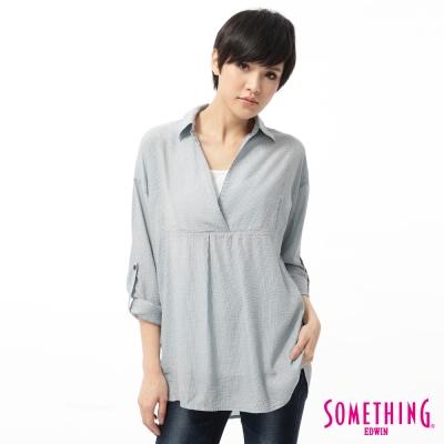 SOMETHING 襯衫 V領後開襟長版襯衫-女-藍色