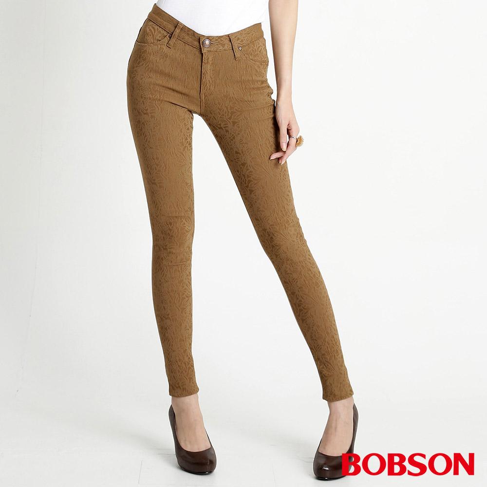 BOBSON 女款高彈力緹織布緊身褲(卡其72)