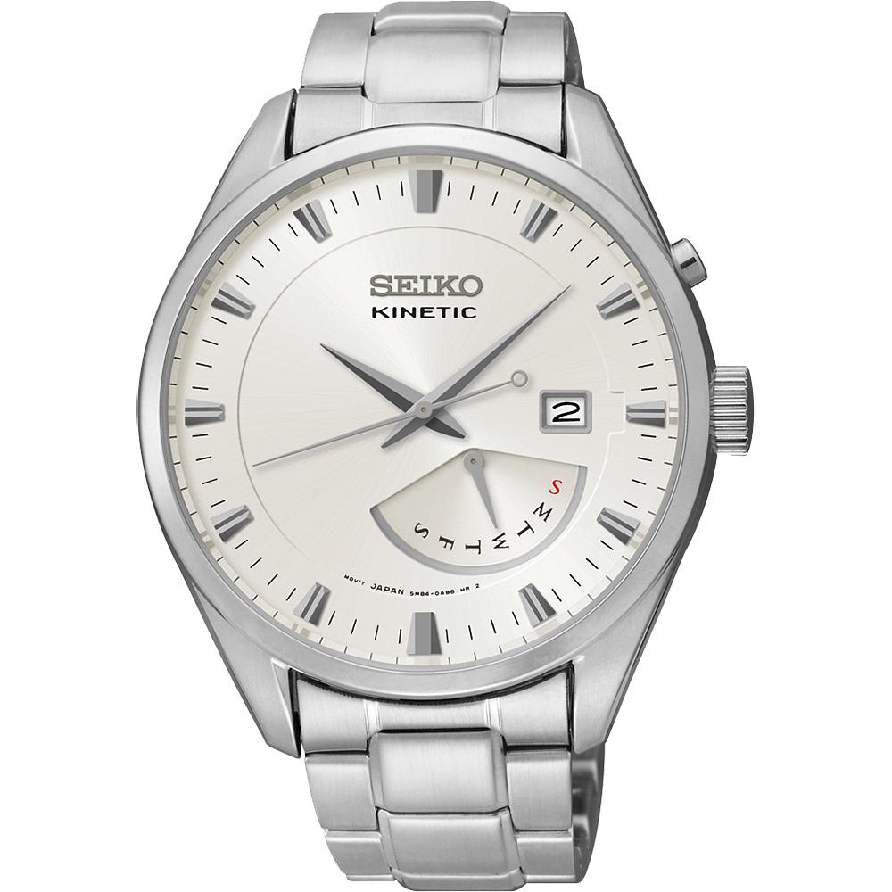 SEIKO Kinetic 日曆時尚人動電能腕錶(SRN043P1)-銀/42mm