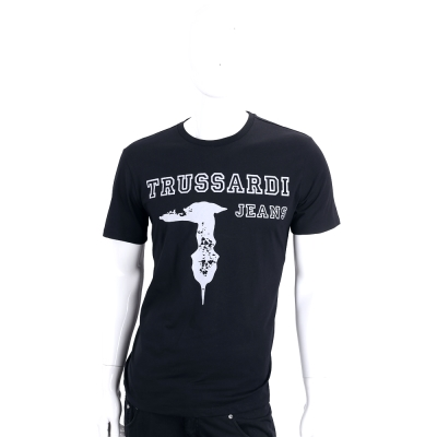 TRUSSARDI-JEANS 黑色字母LOGO棉質短袖T恤