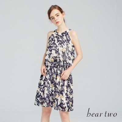 beartwo 夏日浪漫印花削肩連身裙(二色)-動態show