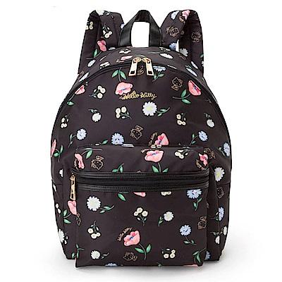 Sanrio  HELLO KITTY花朵圖案後背包(黑)
