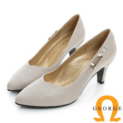 GEORGE-側金屬飾扣洞洞拼接真皮尖頭中跟鞋-淺芋色