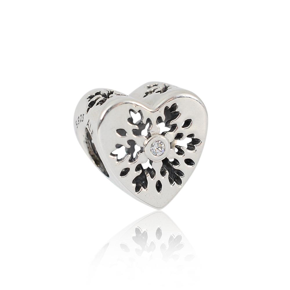 Pandora 潘朵拉 戀戀雪花愛心鑲鋯 純銀墜飾 串珠
