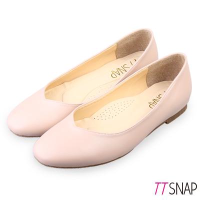 TTSNAP娃娃鞋-MIT素面細緻羊紋平底鞋 粉