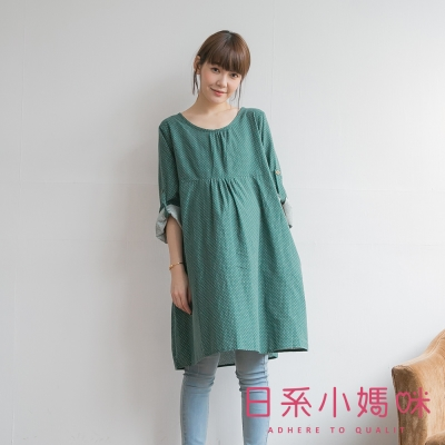 日系小媽咪孕婦裝-日系水玉點點反折袖洋裝-共二色