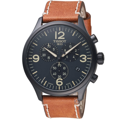 TISSOT天梭 韻馳系列 Chrono XL 計時時尚腕錶-黑x咖啡/45mm