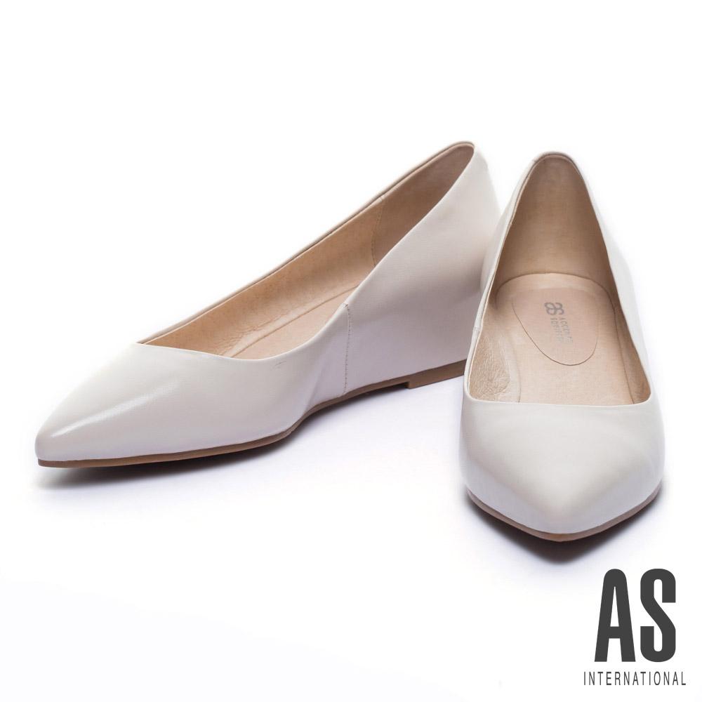 楔型鞋 AS 經典素面全真皮尖頭楔型鞋-米