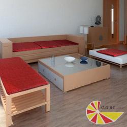 【凱蕾絲帝】木椅通~高支撐聚合如意紅薄坐墊組(1.3人專用)