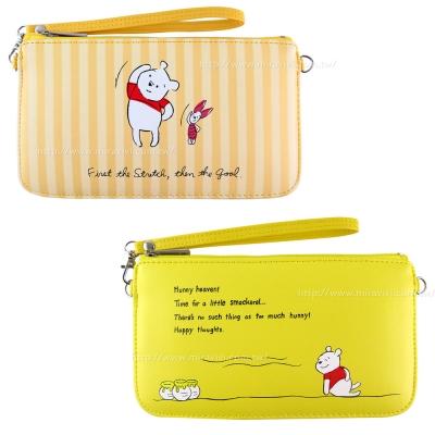 Disney 迪士尼插畫維尼橫式手機袋/萬用包/手腕袋