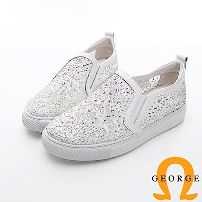 GEORGE 喬治-簍空蕾絲感厚底平底休閒鞋-白