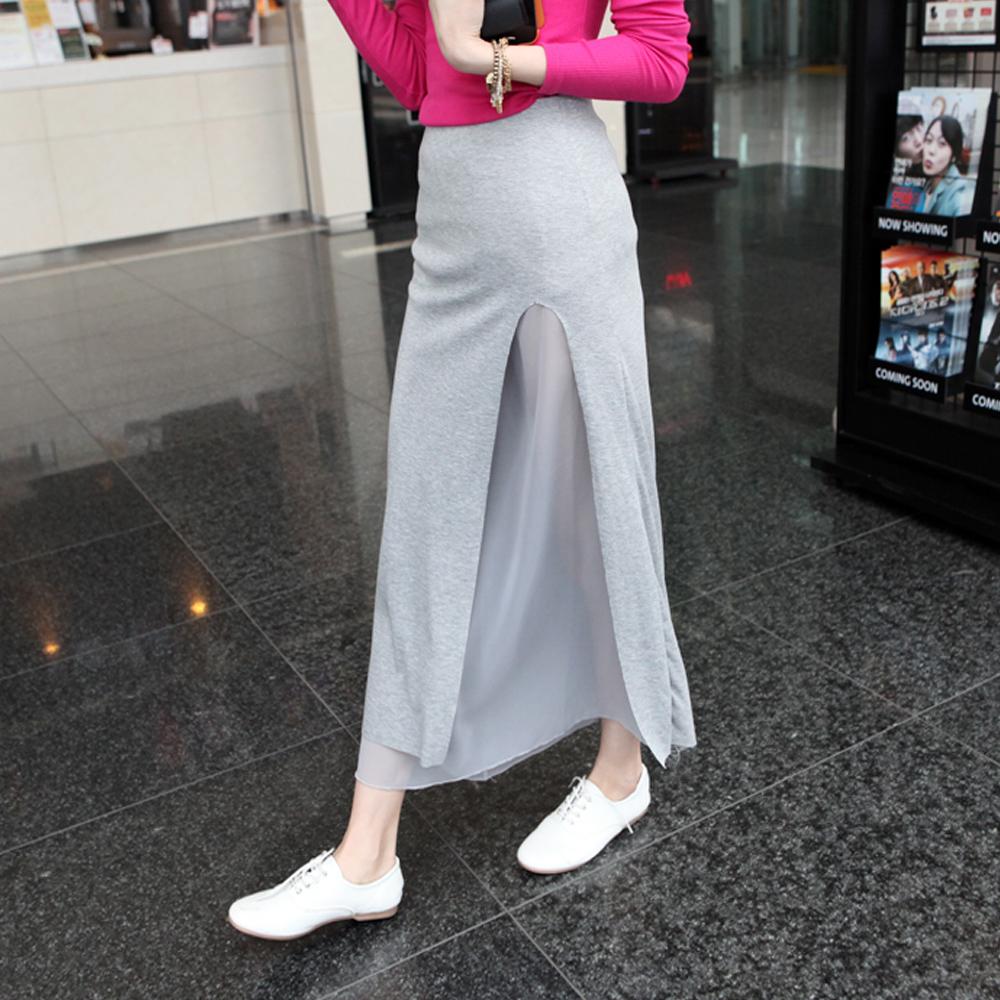【Sexy JADE】異材質雪紡雙層混搭棉長裙 (共二色)