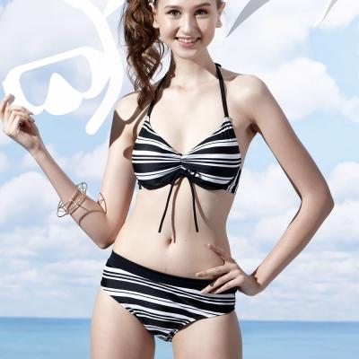 泳裝 三件式條紋比基尼女泳裝 沙兒斯