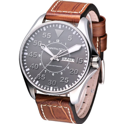 HAMILTON Khaki Pilot 航空飛行機械腕錶-灰/46mm