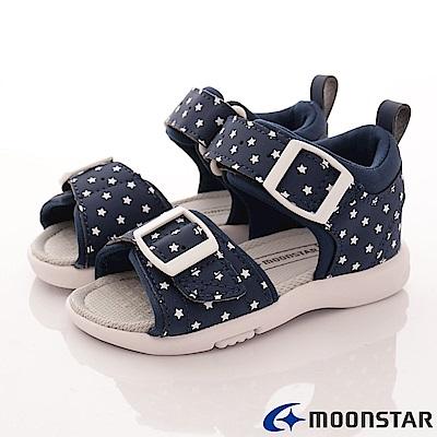 日本月星頂級童鞋-後穩定機能涼鞋-TO1805深藍(中小童段)