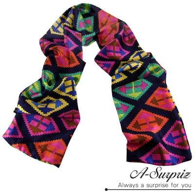 A-Surpriz 韓版時尚幾何圖樣緞面長絲巾