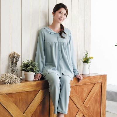 華歌爾 咖啡炭 居家休閒 M-L 長袖睡衣褲裝(藍)-舒適睡衣-居家保暖