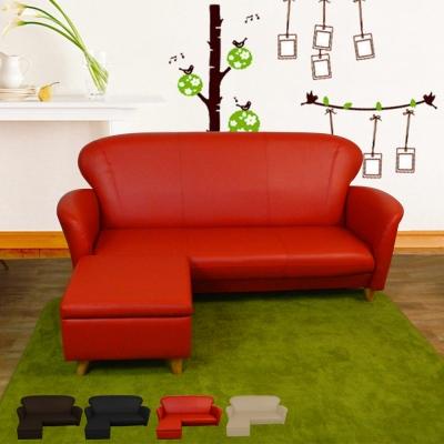 時尚屋 摩登日式5.5尺三人座L型實木腳沙發 多色可選 寬165cm-免組