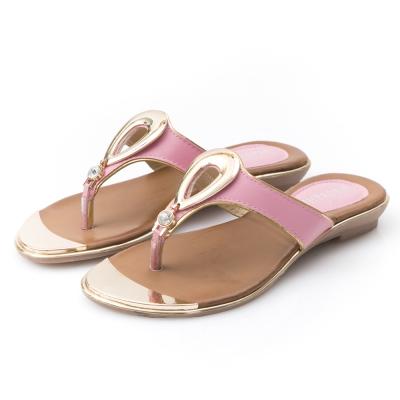 JMS-閃耀夏日水滴金屬扣飾搭鑽夾腳涼拖-粉色