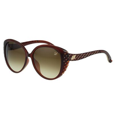 SWAROVSKI 雕刻 水鑽 太陽眼鏡(咖啡紅色)