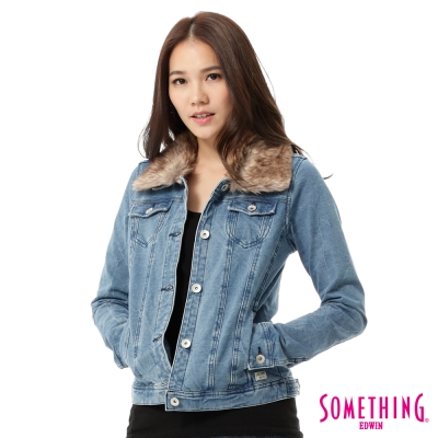 SOMETHING-毛領針織牛仔外套-女-漂淺藍