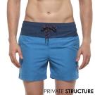 P.S 時尚玩色抽繩海灘健身兩用短褲(藍色),Private Structure
