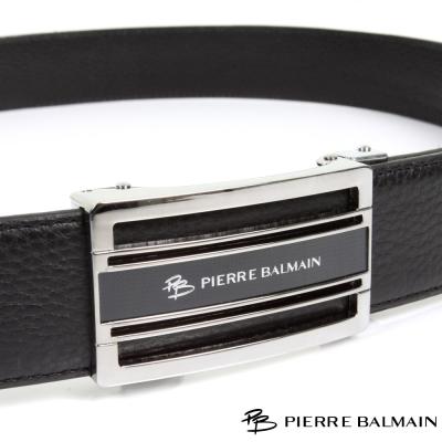 PB-皮爾帕門-經典方框簍空黑底Logo款-頭層牛皮自動扣皮帶-710