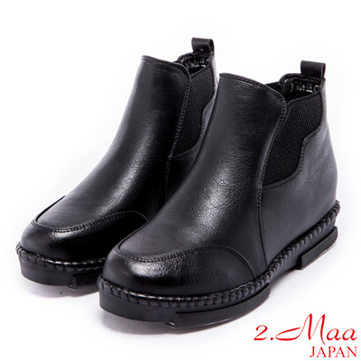 2.Ma-戀念率性復古內增高短靴-黑