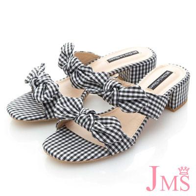 JMS-亮麗格紋布雙帶蝴蝶結低跟涼拖鞋-黑色