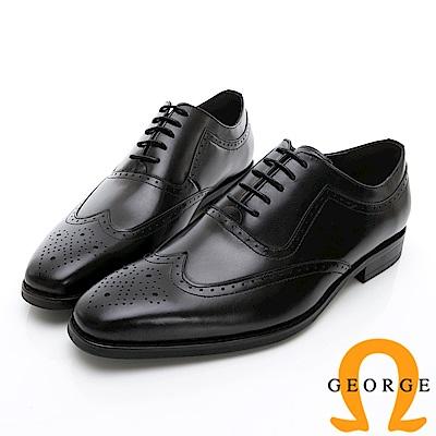 Amber 手工漸層雕花牛津鞋紳士鞋皮鞋-黑