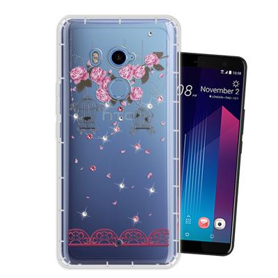 WT HTC U11+ / U11 Plus 奧地利水晶彩繪空壓手機殼(璀璨蕾絲...