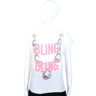 MOSCHINO 白色鑽石項鍊圖案設計短袖上衣