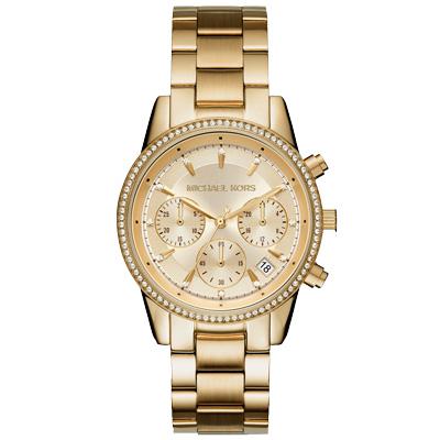Michael Kors 愛爾麗晶鑽三眼時尚腕錶-MK6356/37mm