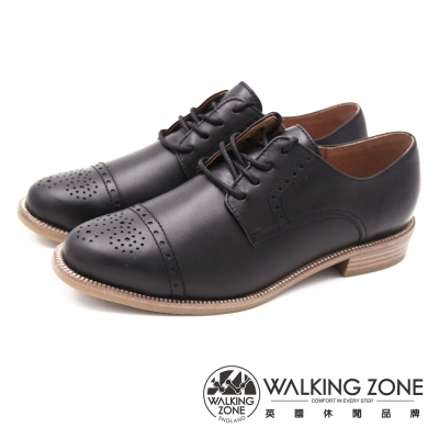 WALKING ZONE 英式雕花綁帶牛津 女鞋-黑