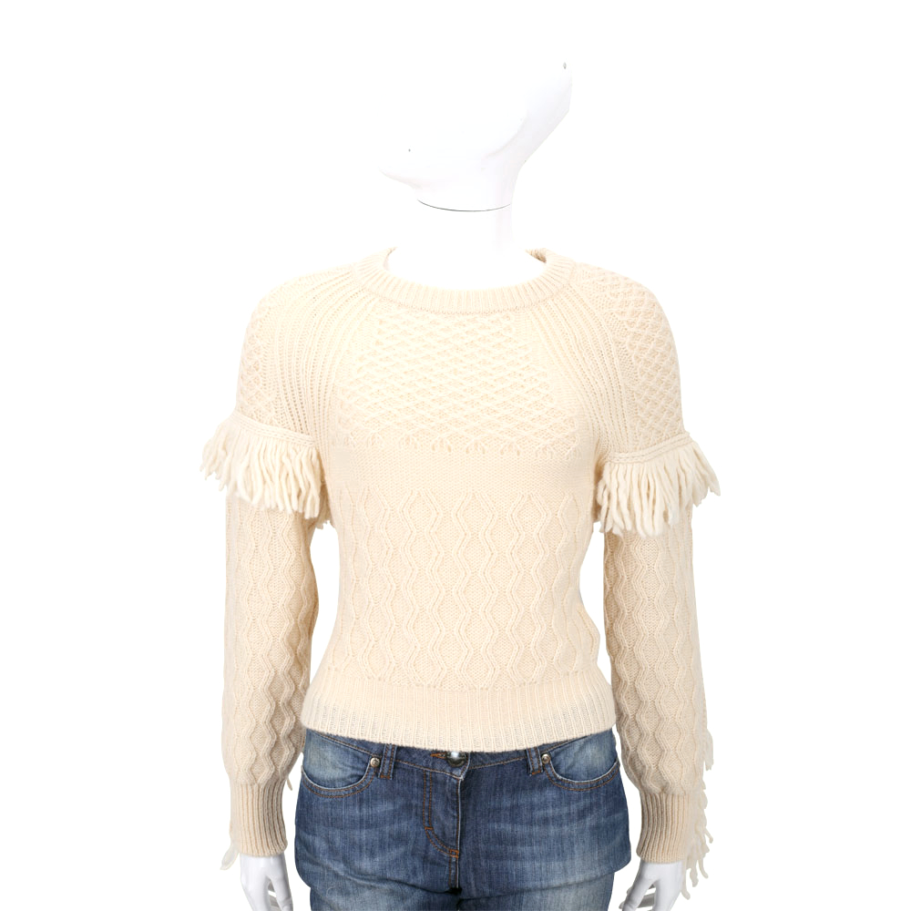 PHILOSOPHY 米黃色流蘇設計針織上衣