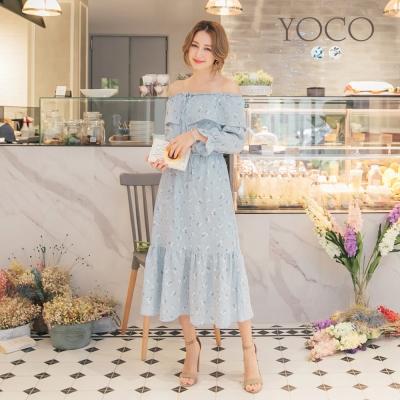 東京著衣-yoco 典雅印花荷葉拼接一字領洋裝-S.M.L(共二色)