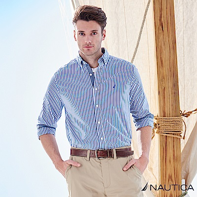 Nautica簡約直條紋長袖襯衫 -天空藍