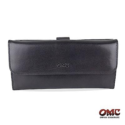 OMC 原皮系列-植鞣牛皮舌片壓扣17卡透明窗多隔層零錢長夾-藍色