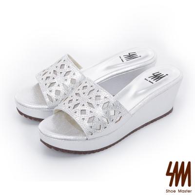 SM-晶鑽系列-窗花鏤空細鑽楔型厚底拖鞋-銀色