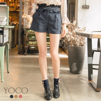 東京著衣-yoco 法式甜心多色可拆式荷葉腰帶短褲-S.M.L(共三色)