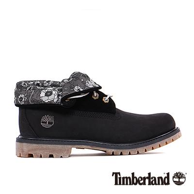 Timberland 女款黑色大理花麂皮翻領中筒靴