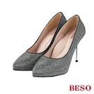 BESO神秘佳人 閃耀金蔥布素面跟鞋~銀