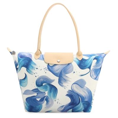 Longchamp Splash 花漾清新圖騰大型水餃包(長把/藍莓色)
