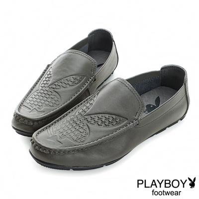 PLAYBOY-都會流行-兔頭壓紋方型休閒鞋-灰-男