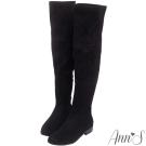 Ann'S完美比例-素面絨質平底彈力側拉鍊過膝靴-黑