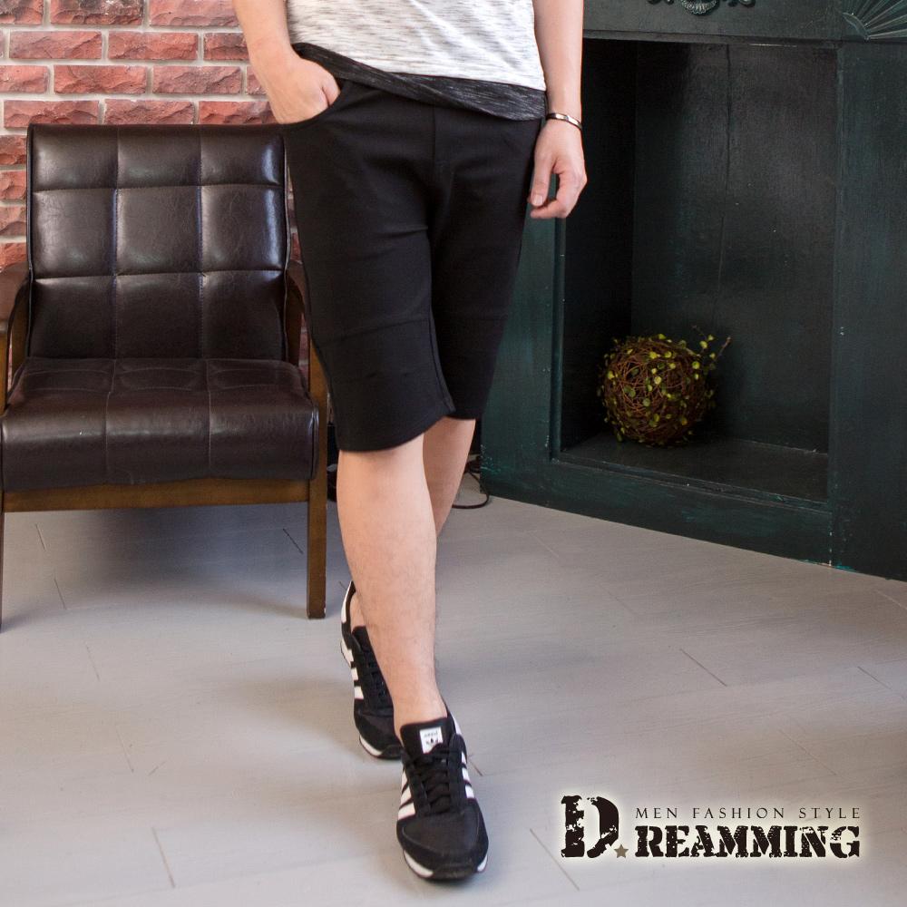 Dreamming 素面優選挺版剪接鬆緊休閒短褲-共二色 (黑色)